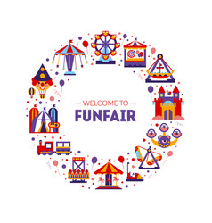 welcome to funfair frame circular shape vector image