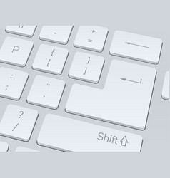 White computer keyboard close up image background vector