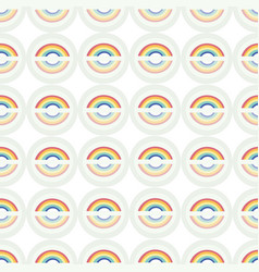 white pattern with rainbow and circle vector image