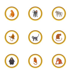 wild monkey icons set cartoon style vector image