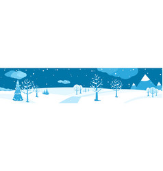 winter landscape horizontal cartoon flat scene vector image