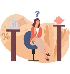 woman choosing her finance options vector image