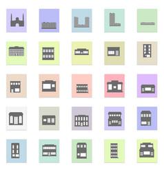 black buildings set black icon on color vector image vector image