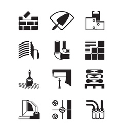 Construction materials and tools vector image vector image