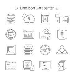 Datacenter Line Icon Set vector image