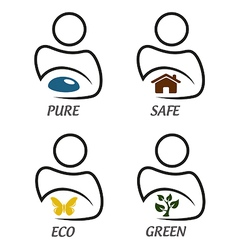 Eco green and environment protection icon set vector image