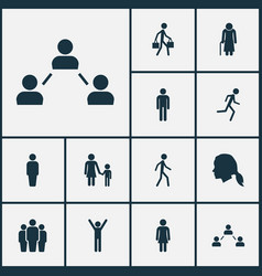 Person icons set collection of female group vector