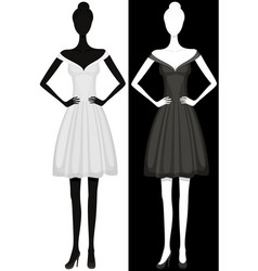 silhouette of girl in beautiful dress vector image vector image