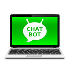 Chat bot app on laptop screen vector