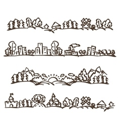 doodle landscape panoramas vector image