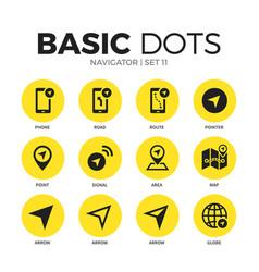 navigator flat icons set vector image vector image