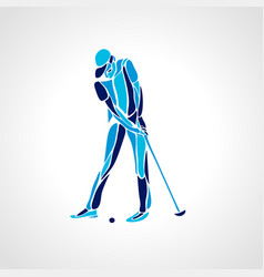 silhouette of golf player eps8 vector image vector image