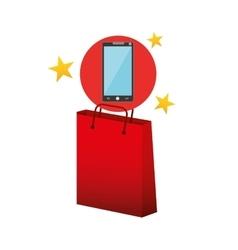 smartphone red bag gift star design vector image