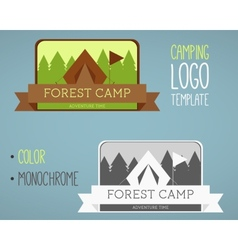 Vintage camping and outdoor activity logos vector image