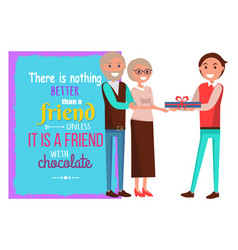 adult son presents gift to his elderly parents vector image vector image