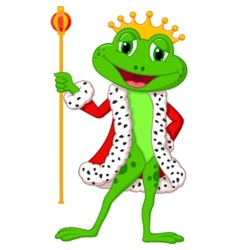 Cute king frog cartoon with royal stick vector image vector image