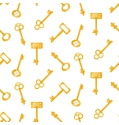 Gold keys seamless pattern on white Retro vector image