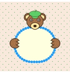 Bear holding banner card in paws Birthday vector image