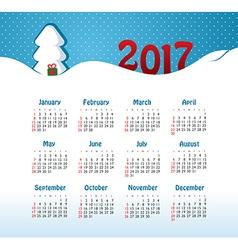 Calendar 2017 year Week Starts Sunday vector image