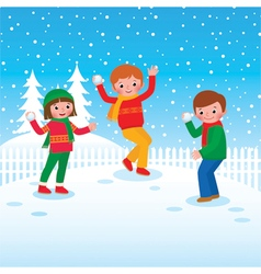 Group of children playing snowballs vector image vector image