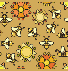seamless pattern included bee and flowe vector image