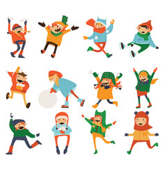 various kids playing and laughing isolated on vector image vector image