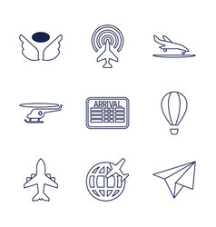 9 flight icons vector