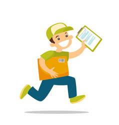 a courier running to deliver a package vector image