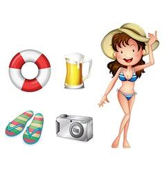 A lifebuoy pair of slippers mug of beer camera and vector image