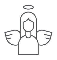 angel thin line icon decoration and peace holy vector image