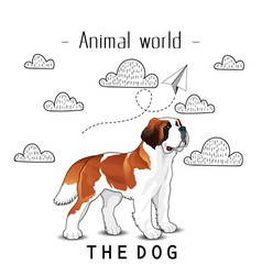 animal world the dog st bernard background vector image
