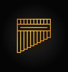 antara or panpipe outline golden icon or vector image