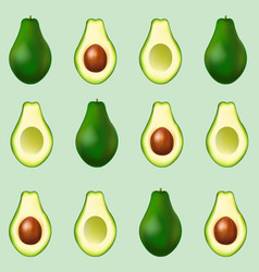 Avocado poster isolated mint background vector