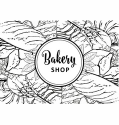 bakery shop banner or cover with line hand drawn vector image