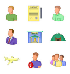 bank clerk icons set cartoon style vector image