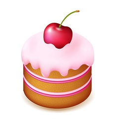 Birthday Cake With Cherry vector