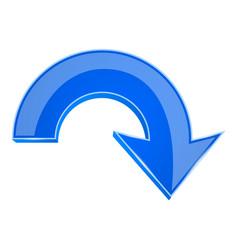 blue 3d arrow down icon vector image