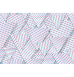 blue pink paper triangles with striped texture vector image