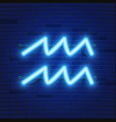 blue shining cosmic neon zodiac aquarius symbol on vector image