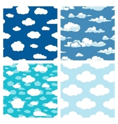 Blue sky and white clouds seamless patterns set vector image