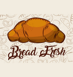 bread fresh croissant bakery background vector image