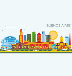Buenos aires skyline with color landmarks and vector