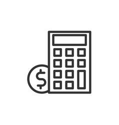 Business payday icon with calculator line style vector