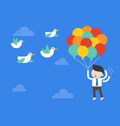 Businessman flying with balloon in sky afraid vector