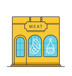 butcher shop butchery meat business flat line vector image