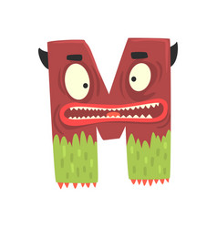 Cartoon character monster letter m vector