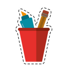 Cartoon cup pencil school utensil vector