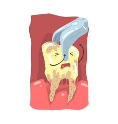 Cartoon tooth character extraction by dental vector