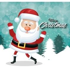 Cheerful santa claus merry christmas white tree vector
