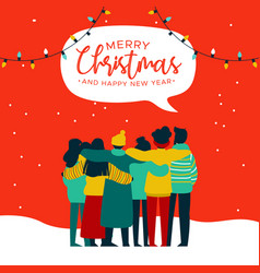 christmas and new year diverse people group card vector image